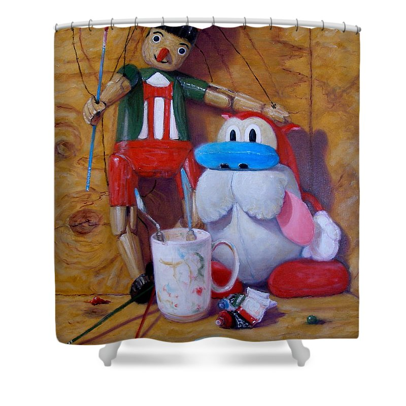 Realism Shower Curtain featuring the painting Friends 2 - Pinocchio And Stimpy  by Donelli DiMaria