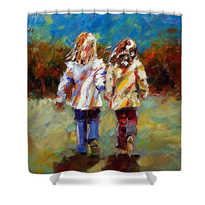 Girls Shower Curtain featuring the painting Friends Forever by Debra Hurd