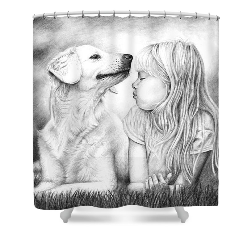 Dog Shower Curtain featuring the drawing Friends by Nicole Zeug