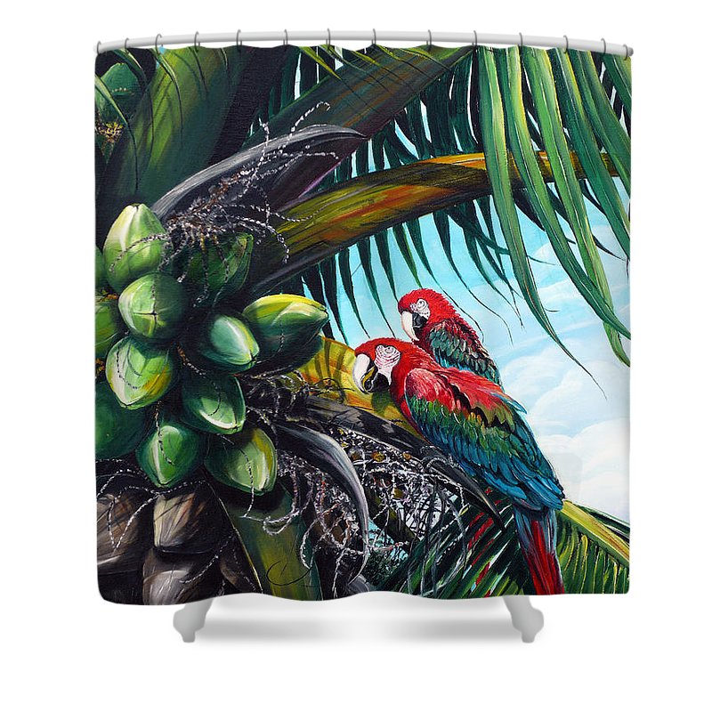 Macaws Bird Painting Coconut Palm Tree Painting Parrots Caribbean Painting Tropical Painting Coconuts Painting Palm Tree Greeting Card Painting Shower Curtain featuring the painting Friends Of A Feather by Karin Dawn Kelshall- Best