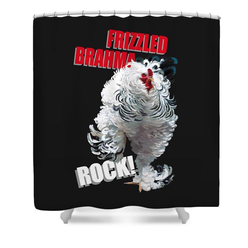 Frizzled Brahma Light Brahma Shower Curtain featuring the digital art Frizzled Brahma T-shirt Print by Sigrid Van Dort