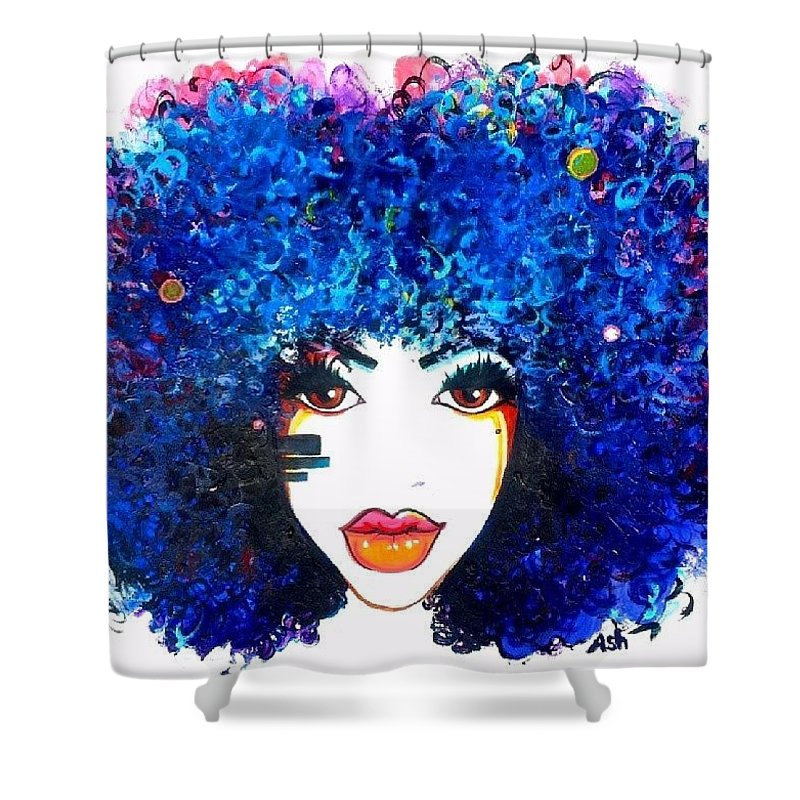 Shower Curtain featuring the painting Fro Blues by Afroism Kouture