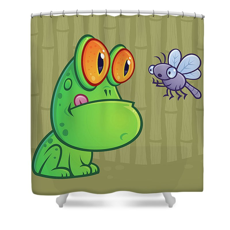 Frog Shower Curtain featuring the digital art Frog And Dragonfly by John Schwegel