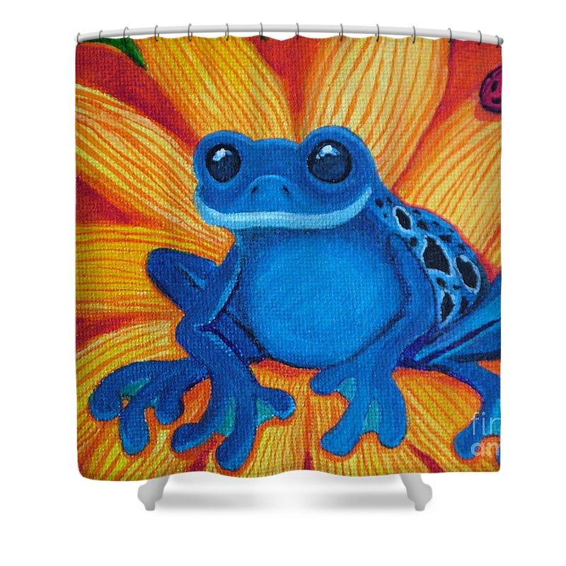 Frog And Flower Painting Shower Curtain featuring the painting Frog And Lady Bug by Nick Gustafson