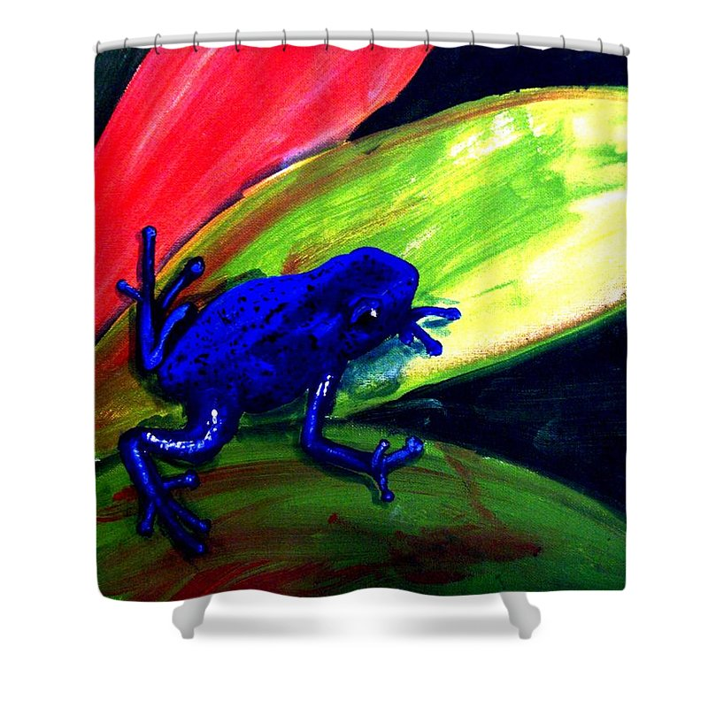 Leaf Shower Curtain featuring the painting Frog On Leaf by Michael Grubb