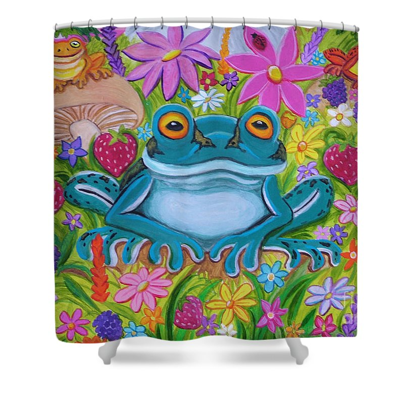 Frog Shower Curtain featuring the painting Frogs And Flowers by Nick Gustafson