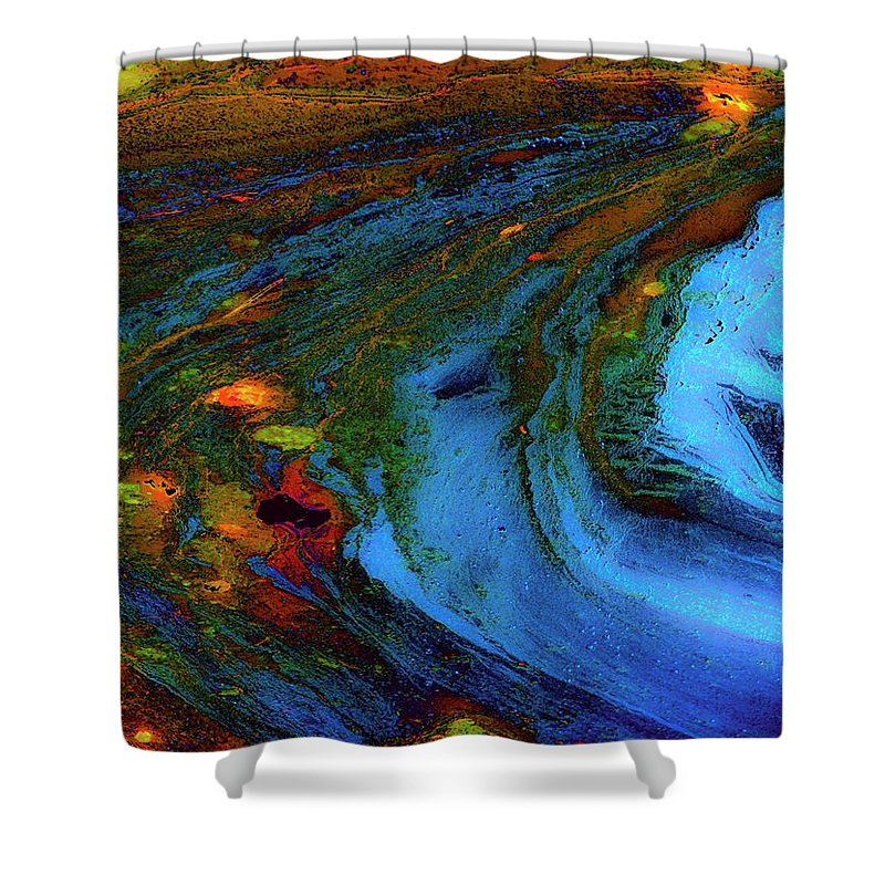 Abstract Shower Curtain featuring the digital art From Blue by Stephen Anderson