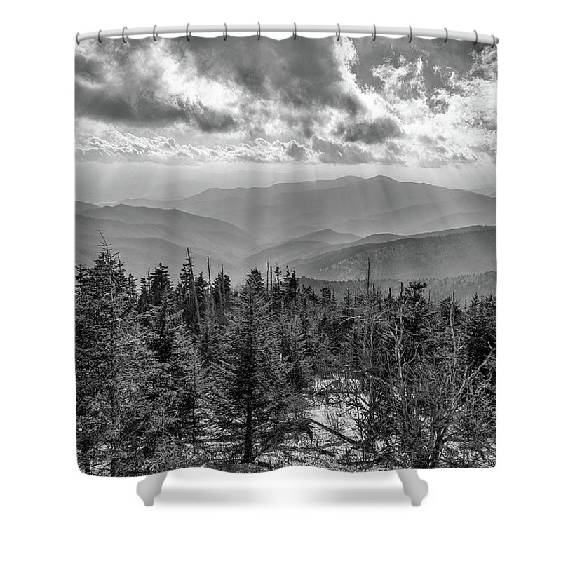 Bw Photography Shower Curtain featuring the photograph From Clingmans Dome by Chilehead Photography