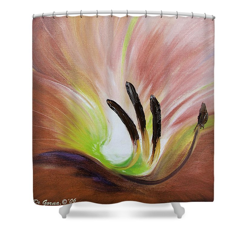 Brown Shower Curtain featuring the painting From The Heart Of A Flower Brown 3 by Gina De Gorna
