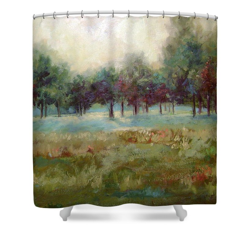 Country Scenes Shower Curtain featuring the painting From The Other Side by Ginger Concepcion
