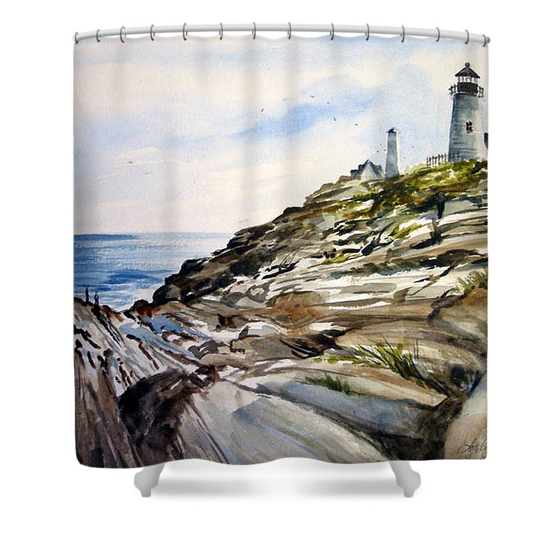 Pemaquid Light House;rocks;ocean;maine;pemaquid;light;lighthouse; Shower Curtain featuring the painting From The Rocks Below by Lois Mountz