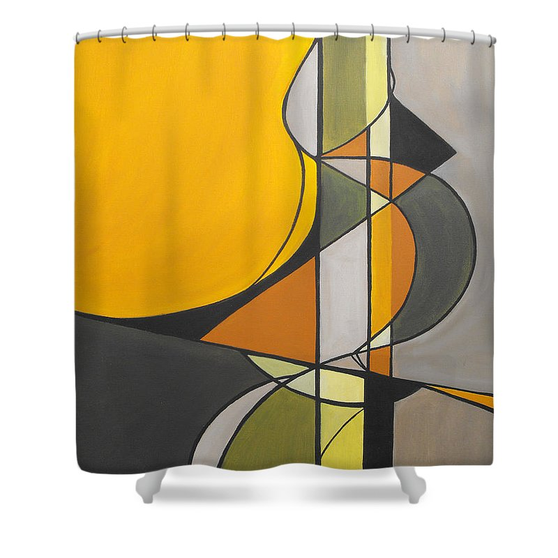 ruth Palmer Abstract Geometric Painting Acrylic Black Grey Green Orange Shower Curtain featuring the painting From Time To Time by Ruth Palmer