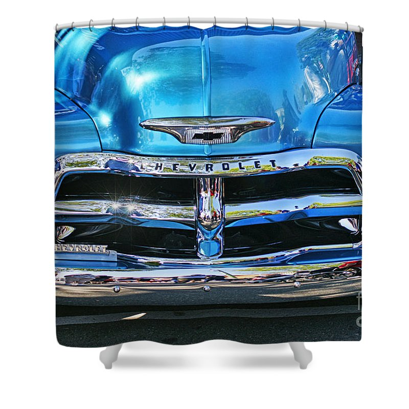 Cars Shower Curtain featuring the photograph Front End Blue And Chrome Chevy Pick Up by Randy Harris