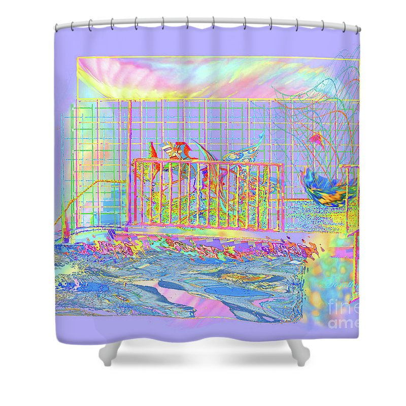 Sunrise Shower Curtain featuring the digital art Front Porch At Sunrise by Dorothy Pugh