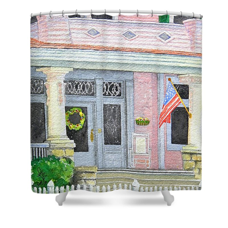 Front Porch Shower Curtain featuring the painting Front Porch by Gale Cochran-Smith