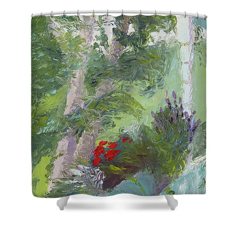 Porch Painting Shower Curtain featuring the painting Front Porch View by Lea Novak
