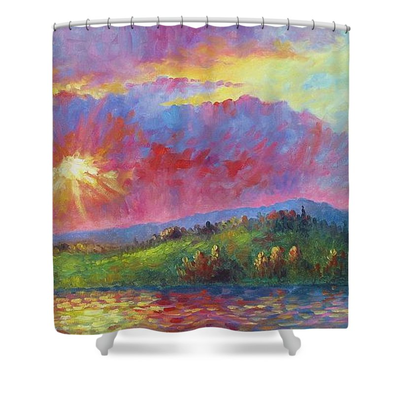 Landscape Shower Curtain featuring the painting Front Range Sunset by David G Paul