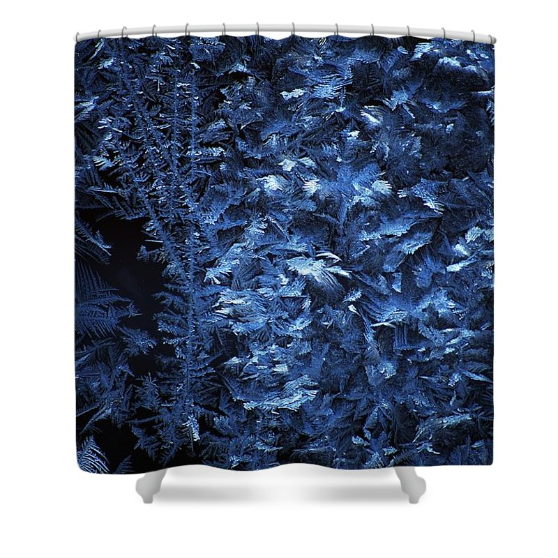 Winter Shower Curtain featuring the digital art Frost On Window by David Lane