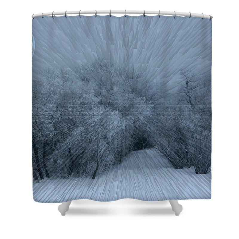 Moon Hoar Frost Trees Sky Winter Snow Cold Fog Lunar Shower Curtain featuring the photograph Frosted Moon by Andrea Lawrence