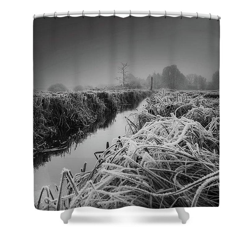 Frost Shower Curtain featuring the photograph Frosty Field by Der Typ Von Nebenan