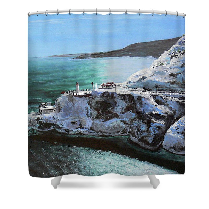 Fort Amherst Shower Curtain featuring the painting Frosty Fort Amherst by Lorraine Vatcher