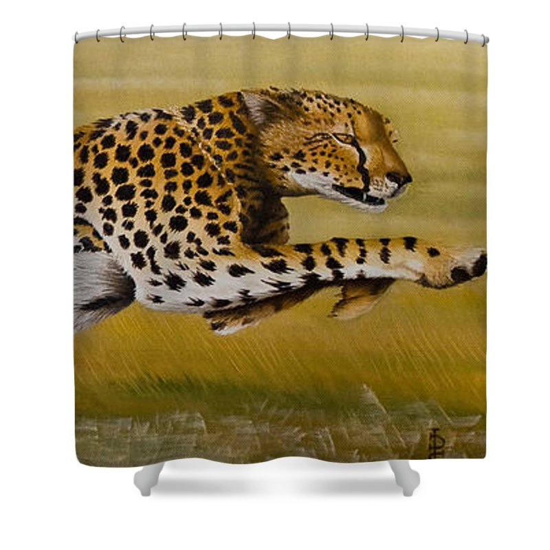 Cheetah Flying Run Speed Stretch Chase Shower Curtain featuring the painting Frozen At Full Charge by Pauline Sharp