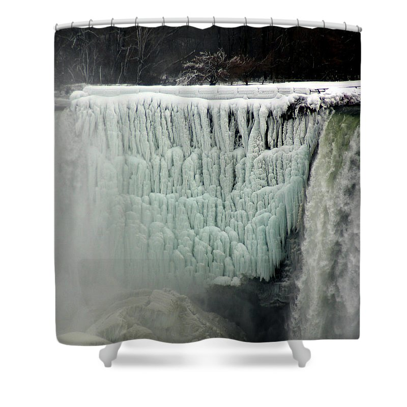 Landscape Shower Curtain featuring the photograph Frozen Falls by Anthony Jones