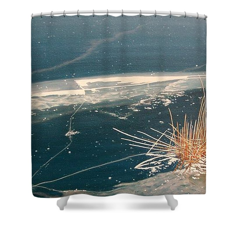 Llandscapes Shower Curtain featuring the painting Frozen In Time by Kenneth M Kirsch