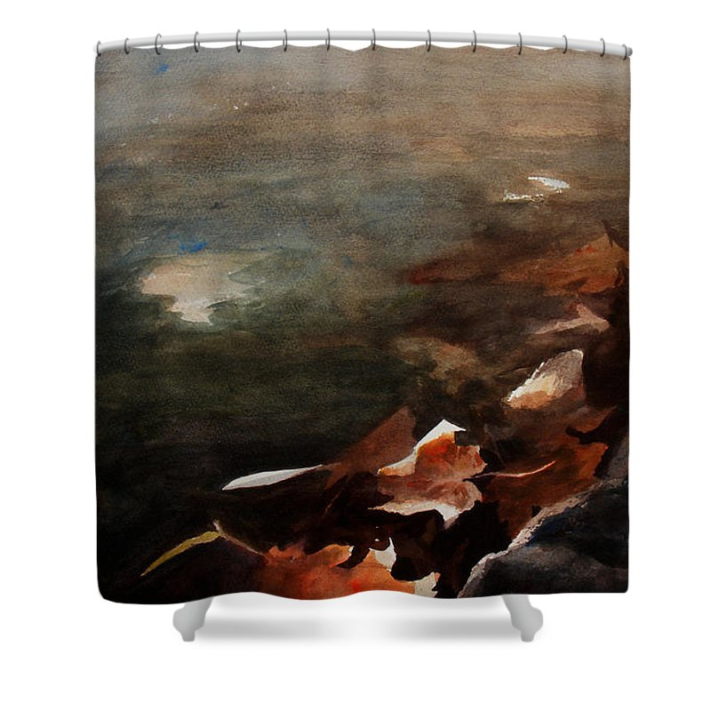 Landscape Shower Curtain featuring the painting Frozen Memories by Rachel Christine Nowicki