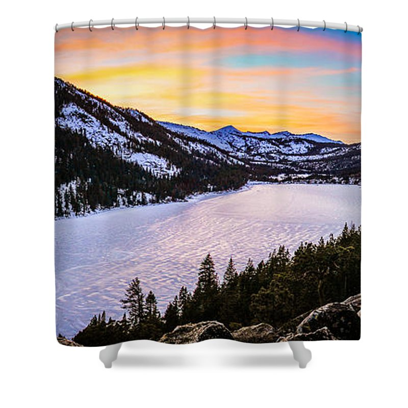 Landscape Shower Curtain featuring the photograph Frozen Reflections At Echo Lake by Mike Herron