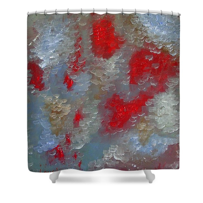 Abstract Shower Curtain featuring the painting Frozen Street by Laurie Morgan