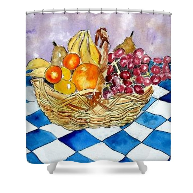 Fruit Basket Shower Curtain featuring the painting Fruit Basket Still Life 2 Painting by Derek Mccrea
