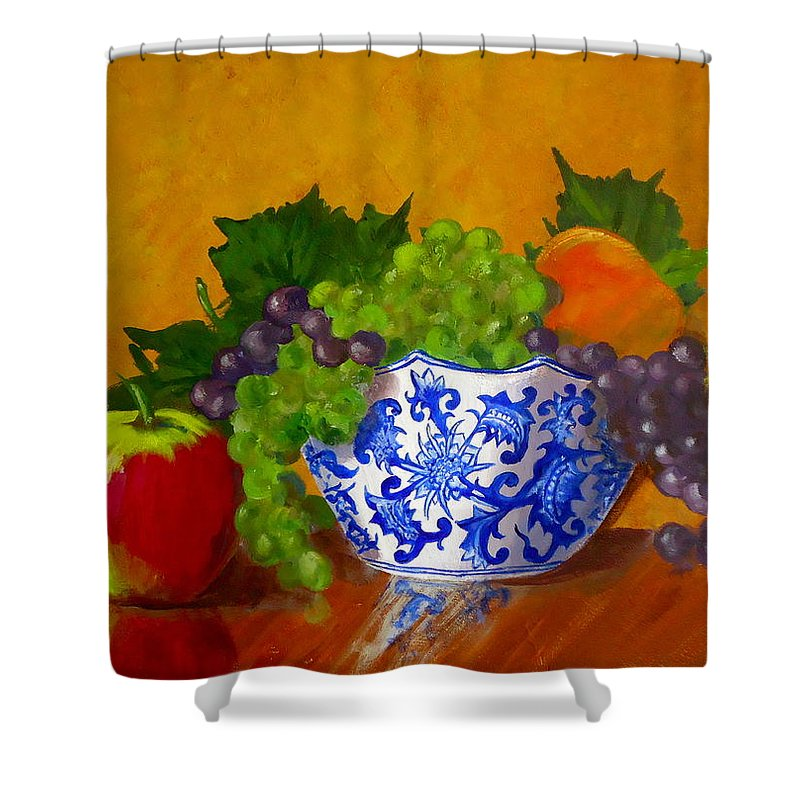 Still Life Shower Curtain featuring the painting Fruit Bowl II by Pete Maier