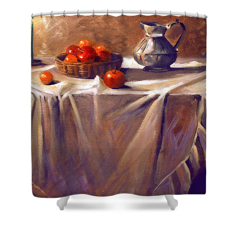 Still Life Shower Curtain featuring the painting Fruit By Candle Light by Nancy Griswold