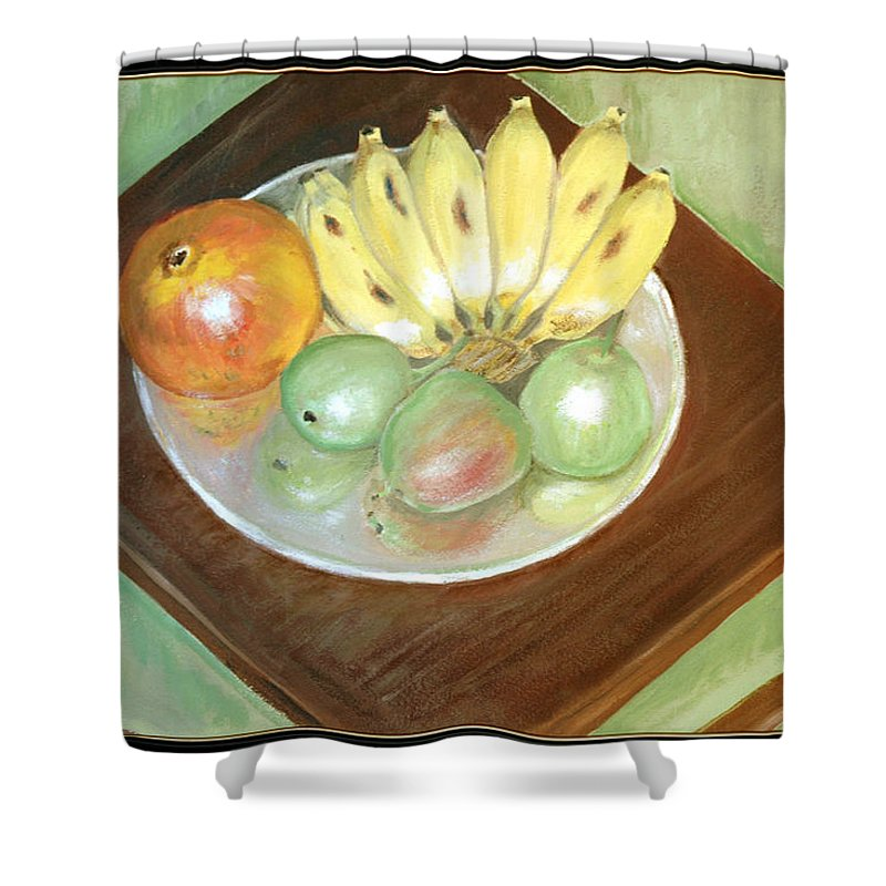Fruits Shower Curtain featuring the painting Fruit Plate by Usha Shantharam