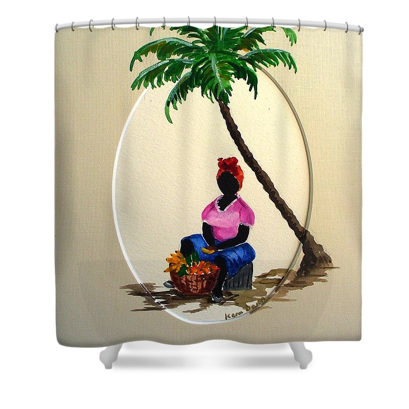 Shower Curtain featuring the painting Fruit Seller by Karin Dawn Kelshall- Best