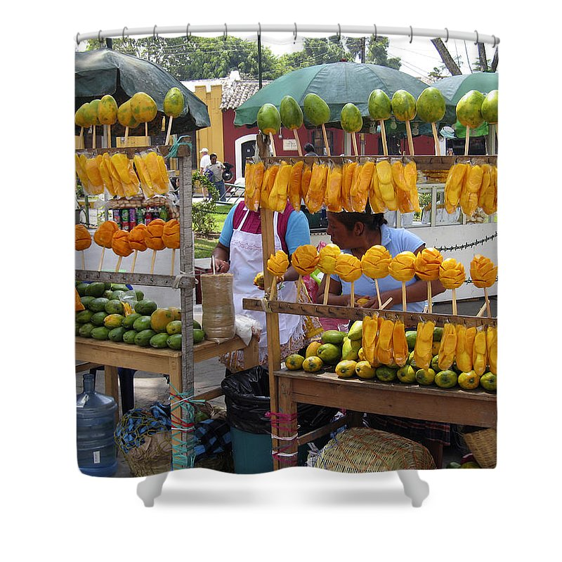 Antigua Shower Curtain Featuring The Photograph Fruit Stand Guatemala By Kurt Van Wagner