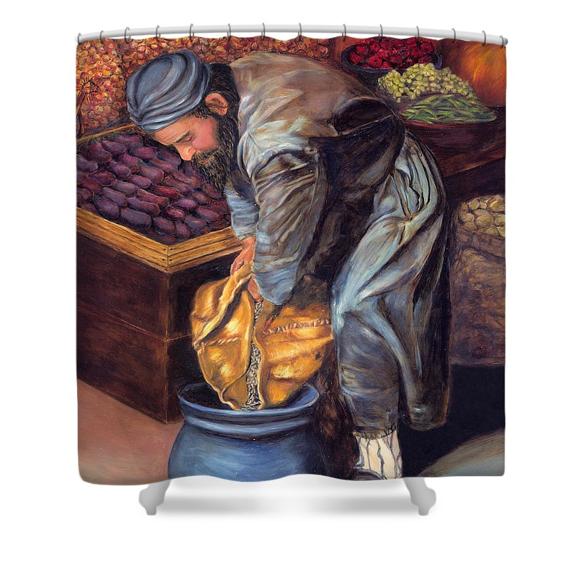 Figurative Painting Shower Curtain featuring the painting Fruit Vendor by Portraits By NC