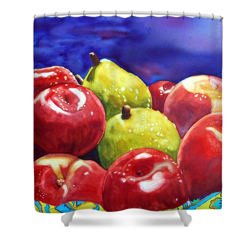 Watercolor Shower Curtain featuring the painting Fruitfully Yours by Gerald Carpenter