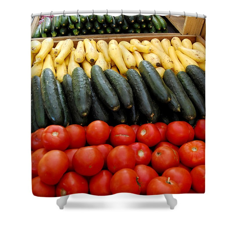 Zucchini Shower Curtain featuring the photograph Fruits And Vegetables On Display 1 by Micah May