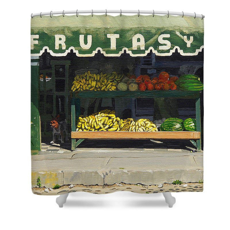 Market In Puerto Vallarta Mexico. Dog Added. Shower Curtain featuring the painting Frutas Y by Michael Ward