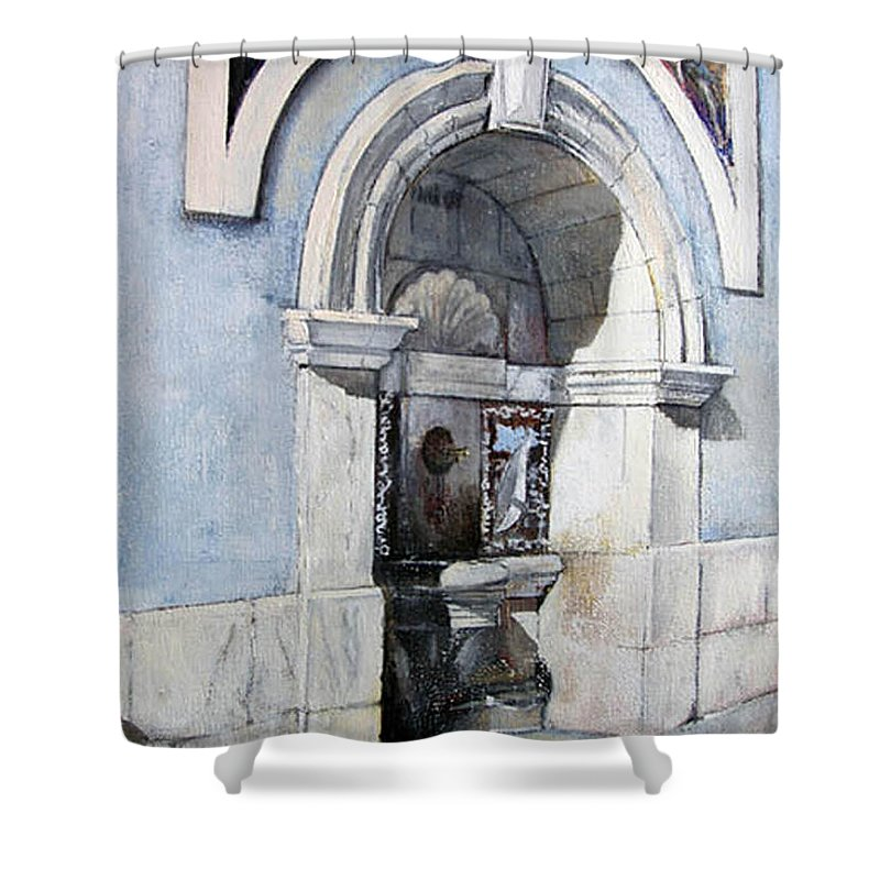 Fuente Shower Curtain featuring the painting Fuente Castro Urdiales by Tomas Castano