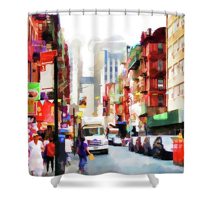 Fujianese-neighborhood Shower Curtain featuring the painting Fujianese Neighborhood by Jeelan Clark