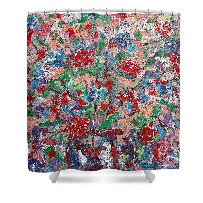 Painting Shower Curtain featuring the painting Full Bloom. by Leonard Holland
