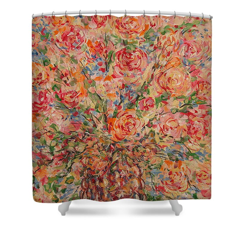 Flowers Shower Curtain featuring the painting Full Bouquet. by Leonard Holland
