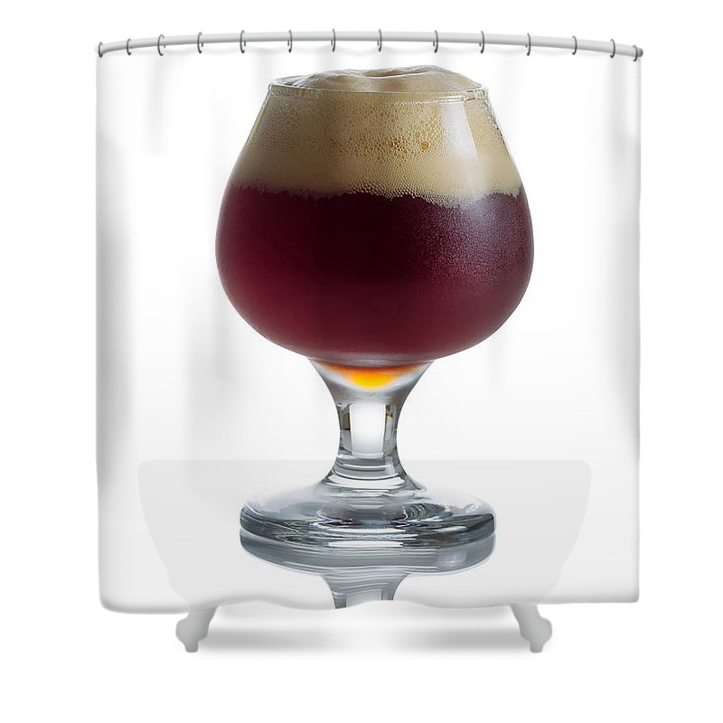 Beer Shower Curtain featuring the photograph Full Draft Dark Beer In Glass Goblet by Thomas Baker