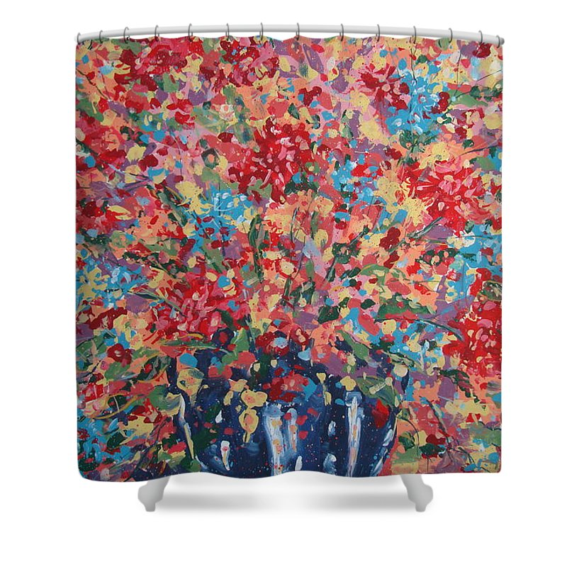 Flowers Shower Curtain featuring the painting Full Flower Bouquet. by Leonard Holland