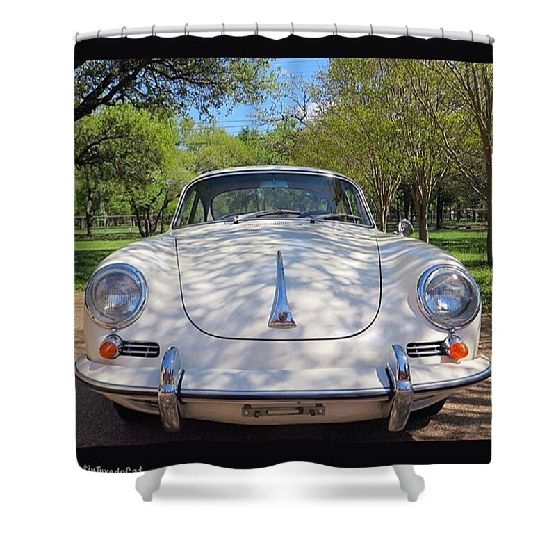 Caroftheday Shower Curtain featuring the photograph Full-frontal by Austin Tuxedo Cat