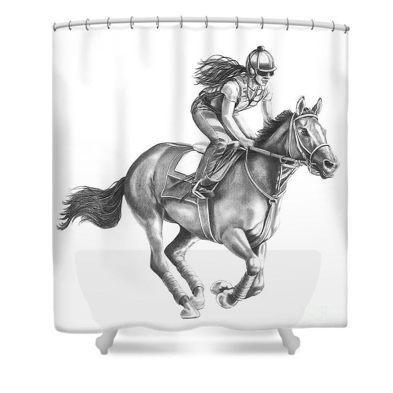 Horse Shower Curtain featuring the drawing Full Gallop by Murphy Elliott