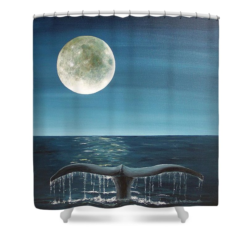 Whale Shower Curtain featuring the painting Full Moon Fluke by Patti Bean